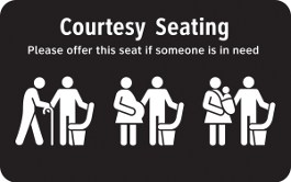 Sample of a courtesy seating sign
