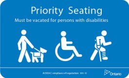 Sample of a priority seating sign
