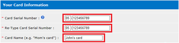 Registering your Smart Card screens - Your Card Information page