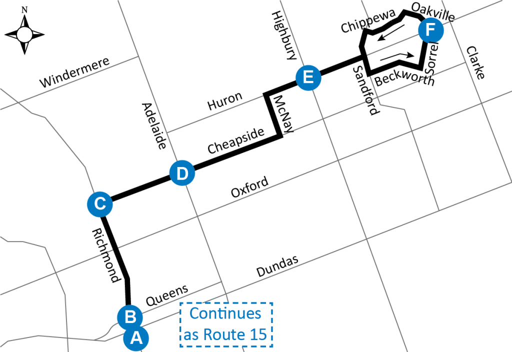 Map Of Downtown London.Route 21 Downtown To Huron Heights London Transit Commission