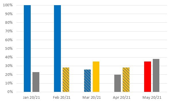 January 2020 - 100%, January 2021 - 23%, February 2020 - 100%, February - 28%, March 2020 - 26%, March 2021 - 35%, April 2020 - 20%, April 2021 - 28%, May 2020 - 35%, May 2021 - 38%