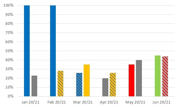 January 2020 - 100%, January 2021 - 23%, February 2020 - 100%, February - 28%, March 2020 - 26%, March 2021 - 35%, April 2020 - 20%, April 2021 - 28%, May 2020 - 35%, May 2021 - 38%, June 2020 - 45%, June 2021 - 44%