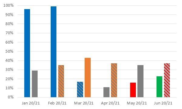 January 2020 - 96%, January 2021 - 29%, February 2020 - 99%, February 2021 - 35%, March 2020 - 17%, March 2021 - 43%, April 2020 - 11%, April 2021 - 37%, May 2020 - 16%, May 2021 - 35%, June 2020 - 23%, June 2021 - 37%